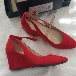 Red suede ankle strap heel